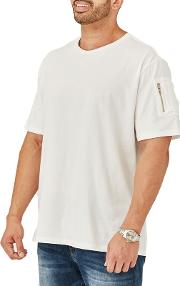 Big And Tall White Zipper Sleeve T Shirt