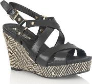 Black Leather robyn Wedge Sandals