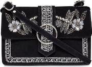 Black Suede Floral Bead Embellished Cross Body Bag