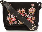 Black Suede Floral Embroidered Cross Body Bag