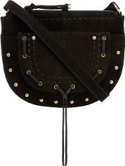 Black Suede Half Moon Cross Body Bag