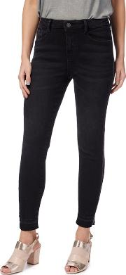 Black Washed Piped Skinny Jeans