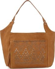 Camel Suede Eyelet Studded Shoulder Bag
