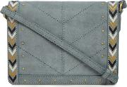 Dark Grey Suede Chevron Edge Cross Body Bag