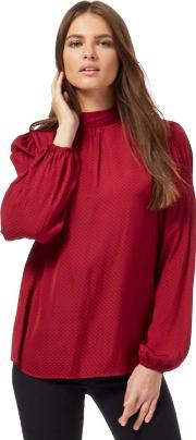 Dark Red Embroidered Pattern High Neck Blouse