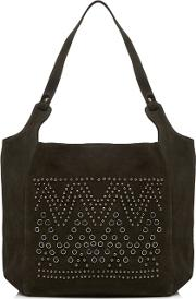 Khaki Suede Eyelet Studded Shoulder Bag