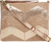 Light Pink Suede Chevron Cross Body Bag