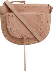 Light Pink Suede Half Moon Cross Body Bag