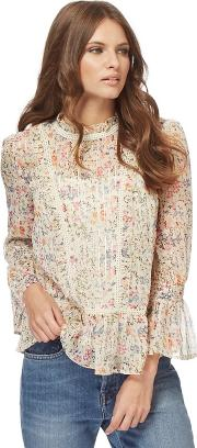 Multi Coloured Floral Flute Sleeves Blouse