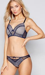 Navy Graphic Lace Non Wired Padded T Shirt Bra