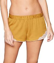 Yellow Lace Trimmed Satin Pyjama Shorts