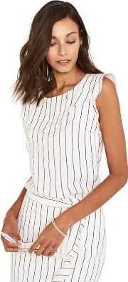 Black And White Linen Look Pinstripe Shell Top