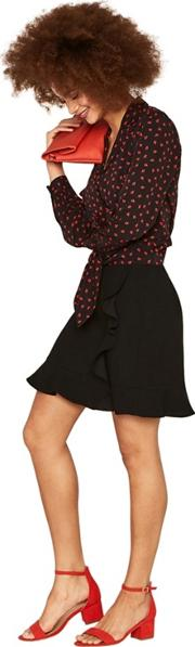Black Ruffle Wrap Mini Skirt