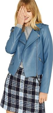 Blue Faux Leather lucy Biker Jacket
