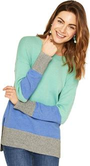 Green, Blue And Grey Long Length Colour Block Knit