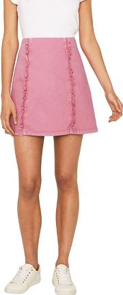 Mid Pink Denim Ruffle Skirt