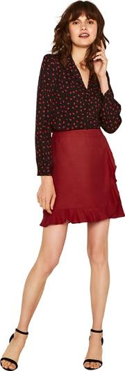 Mid Red Linen Ruffle Wrap Mini Skirt