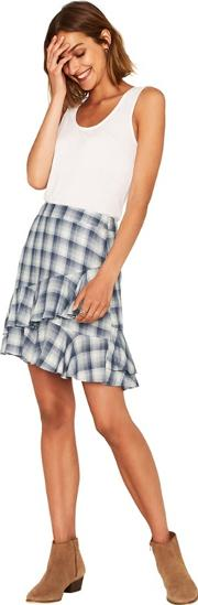 Multi Blue Check Tiered Skirt