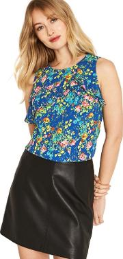 Multi Blue Painted Posy Shell Top