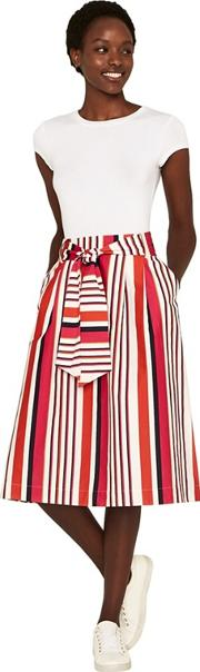Multi Colour Clash Stripe Midi Skirt