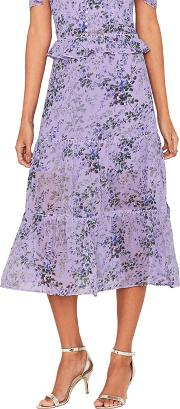 Multi Lilac provence Tiered Midi Skirt