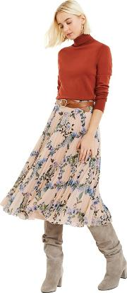 Multi Natural louisella Pleated Skirt