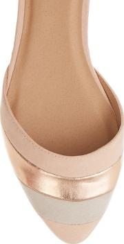 Nude serena Stripe 2 Part Flat Shoes