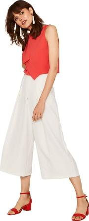 Off White Crop Wide Trousers