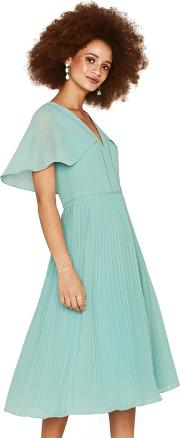 b4cb07ab05f9 Pale Green Cape Back Pleated Midi Dress. oasis