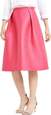 Pink Satin Twill Midi Skirt