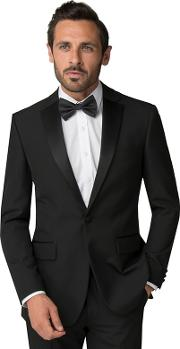 Black Regular Fit Tuxedo Jacket