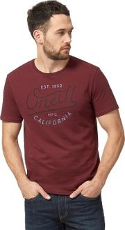 Dark Red Logo Print T Shirt
