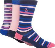Pack Of Three Assorted Plain And Striped Socks