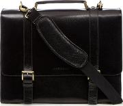 Black Leather Two Buckle Briefcase