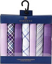 Pack Of Seven Purple Patterned Handkerchiefs