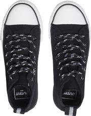 Boys Black Canvas High Top Trainers