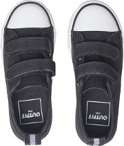 Boys Black Canvas Low Top Trainers