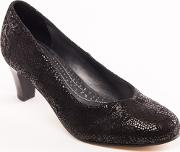 Leather judy Mid Heel Wide Fit Court Shoes