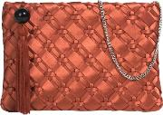Red Brick Gofre Party Clutch Bag