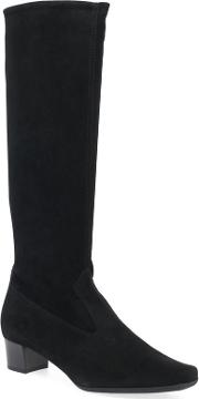 Black Suede aila Mid Heeled Knee High Boots