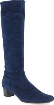 Navy Suede aila Mid Heeled Knee High Boots