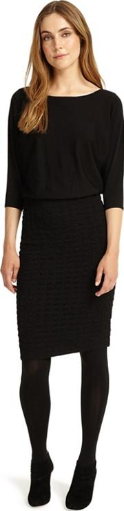 Black Adele Textured Knitted Dress