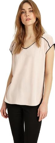 Black And Blush Pippa Piped Edge Top