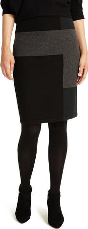 Black Cassidy Colour Block Knitted Skirt