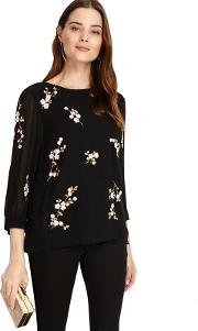 Black Hina Embroidered Blouse