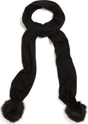 Black Pom Pom Knitted Scarf