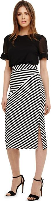 Black Shadi Striped Skirt