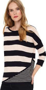 Blue Devonna Mix Stripe Knit Top