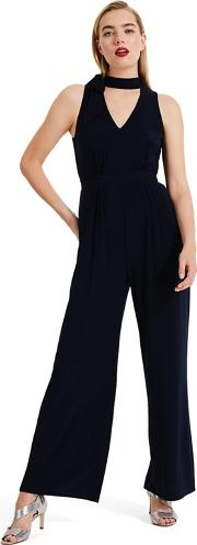 Blue Erin Tie Neck Jumpsuit