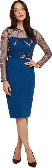 Blue Felice Embroidered Dress